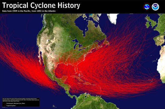 Map of the historical tracks of tropical cyclones