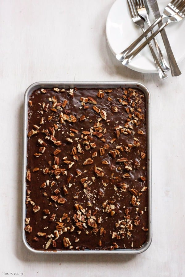 Lighter Version Grandma's Chocolate Sheet Cake