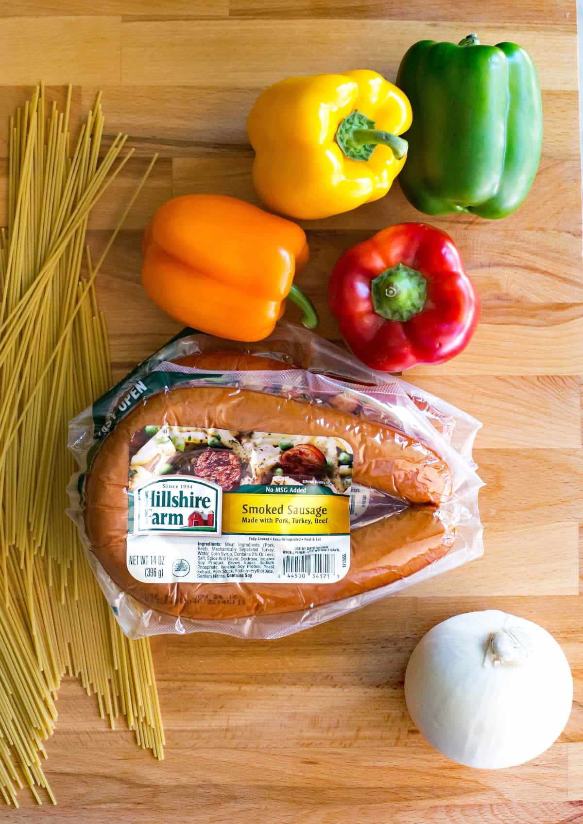 This smoked sausage and peppers recipe is one that is a staple in our