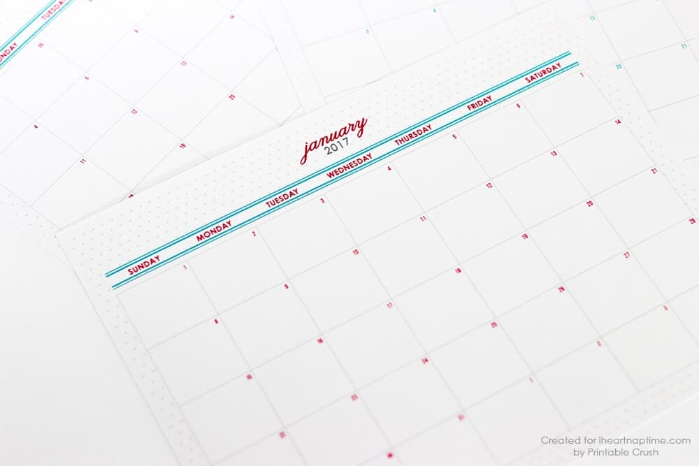 FREE Printable 2017 Monthly Calendar - I Heart Nap Time