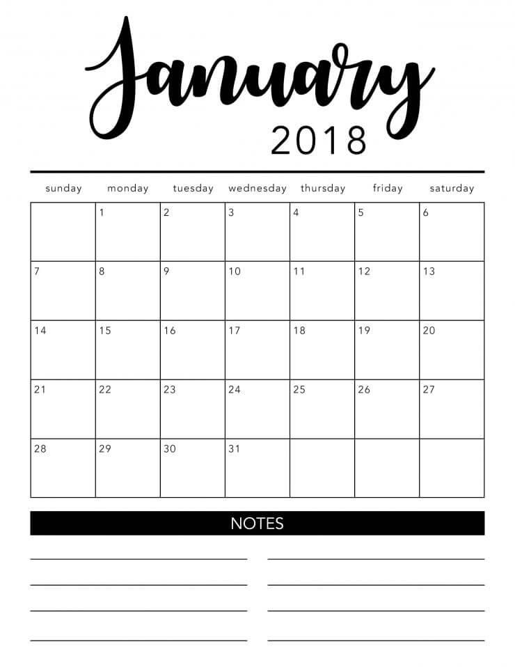 2018 free printable calendar - I Heart Nap Time - free printable calendar