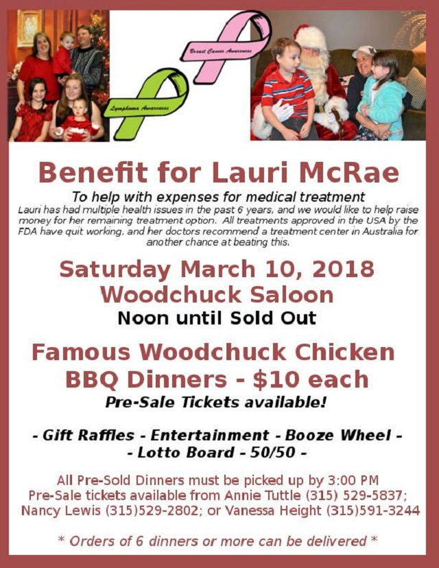 Benefit for Lauri McRae - Saturday, March 10, 2018 12pm - 6pm - bbq benefit flyers