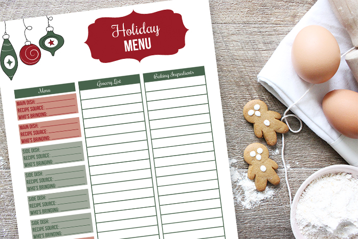 Holiday Menu Planner Printable (Step 5) - I Heart Planners