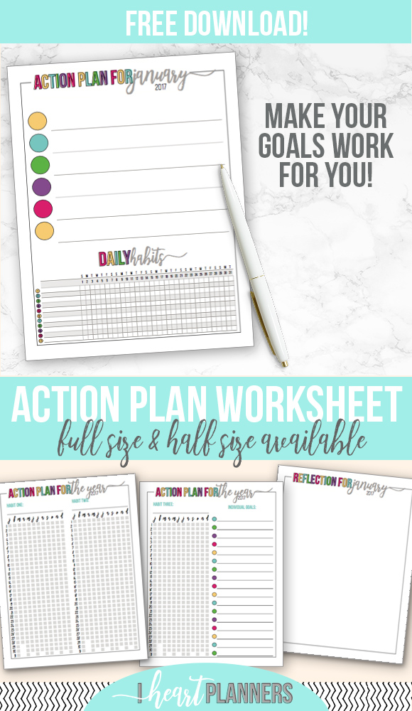 Action Plan Finish Up Your Goal-Setting - I Heart Planners - action plan work sheet