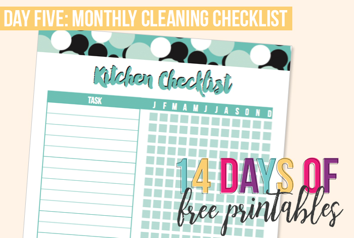 Day 5 Monthly Cleaning Checklist - I Heart Planners
