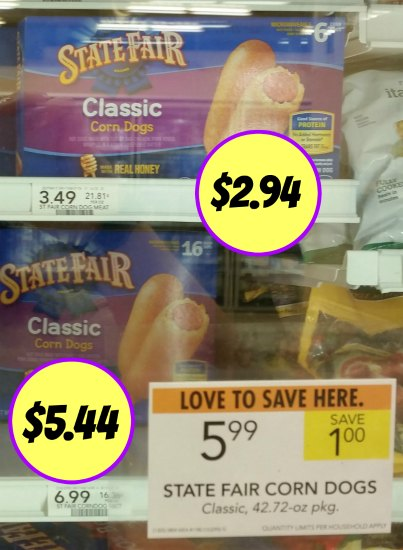 State Fair Mini Corn Dogs besides Walmart Coupon Deals 0 751 State Fair Corn Dogs Coupon in addition State Fair Corn Dogs 1 49 Harris Teeter 1018 1024 moreover State Fair Mini Corn Dogs For 5 43 At Walmart After School Snack Idea also Free State Fair Corn Dogs For Some. on state fair corn dogs coupons