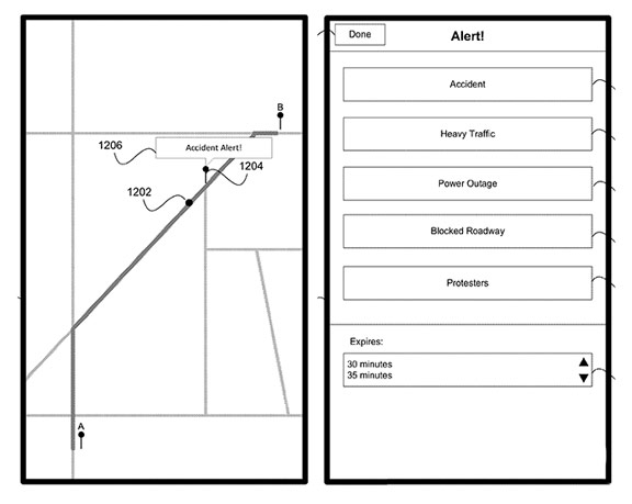 Apple-patent-Maps  Apple is developing a social navigator for iOS, similar to Waze Apple patent Maps 2