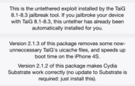 TAIG updated its jailbreak version 2.1.3 to fix bugs