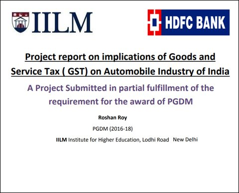 Project report on implications of Goods and Service Tax (GST) on - project report