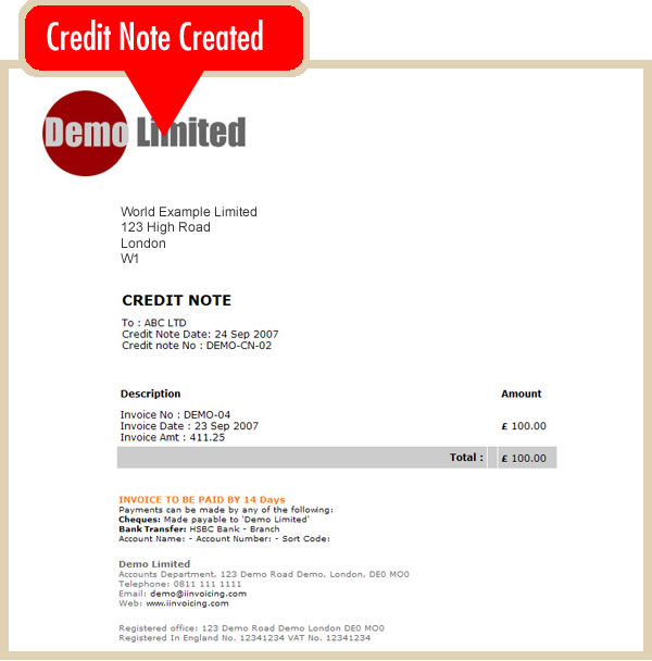 Create an Online Credit Note online invoicing system - iInvoicing