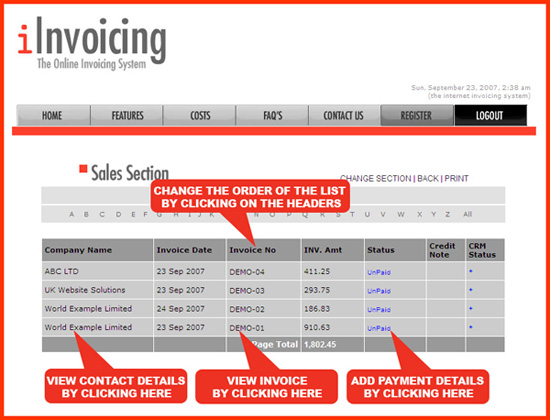 iInvoicing, invoice online with the online invoicing system