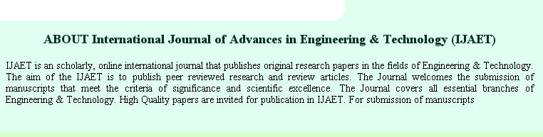 International Journal of Advances in Engineering  Technology - IJAET - research paper covers