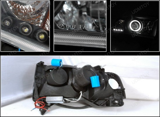 94-01 Dodge RAM Black CCFL Halo Projector LED Headlights
