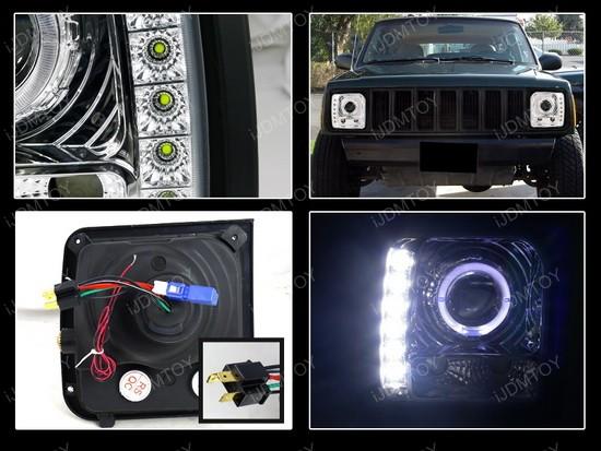 97-01 Jeep Cherokee Chrome Halo Projector Headlights with LEDs