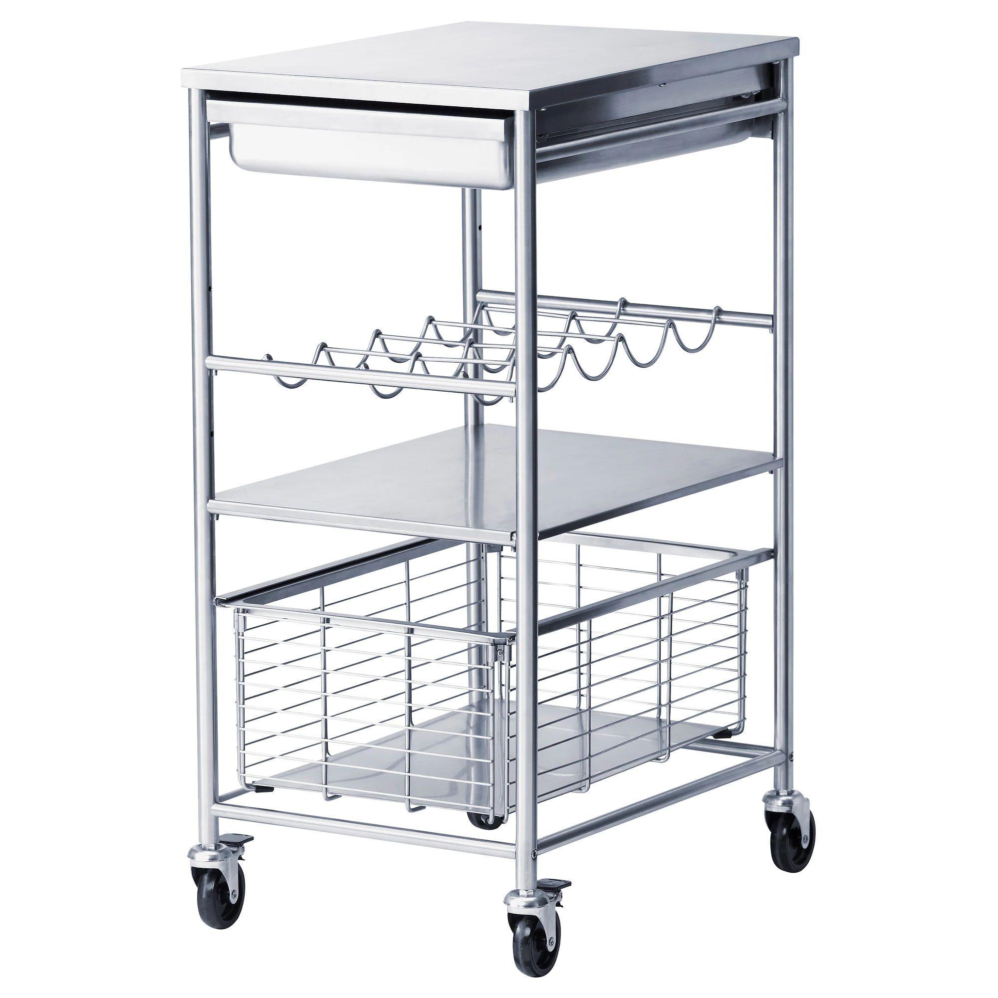 Grundtal kitchen cart stainless steel length 21 1 4 width 16