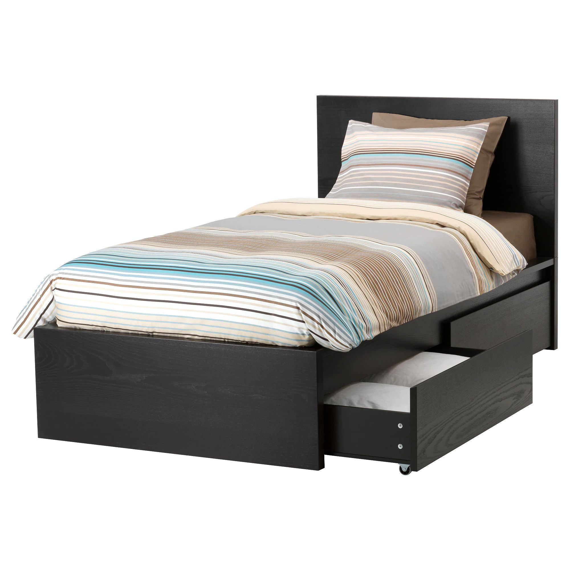 Malm high bed frame 2 storage boxes black brown lur y height of