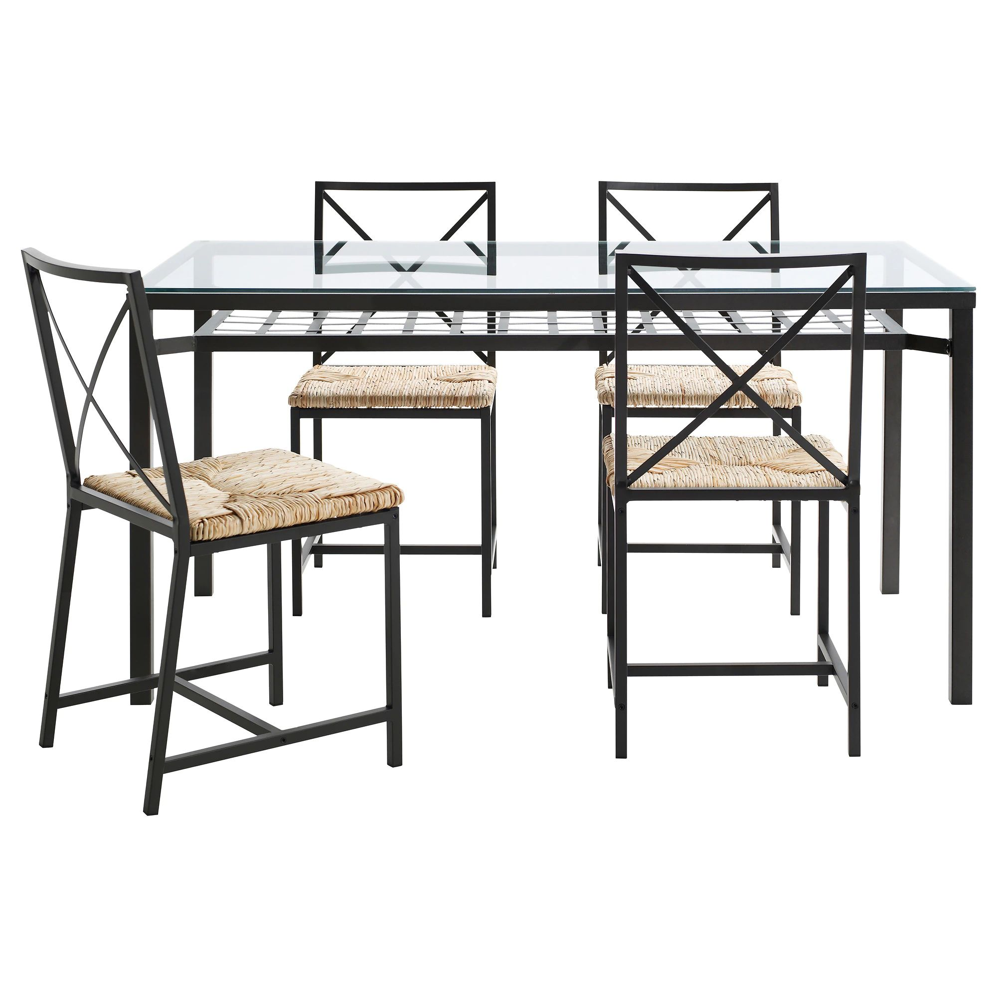 Gran s table and 4 chairs black glass table length 57 1 2