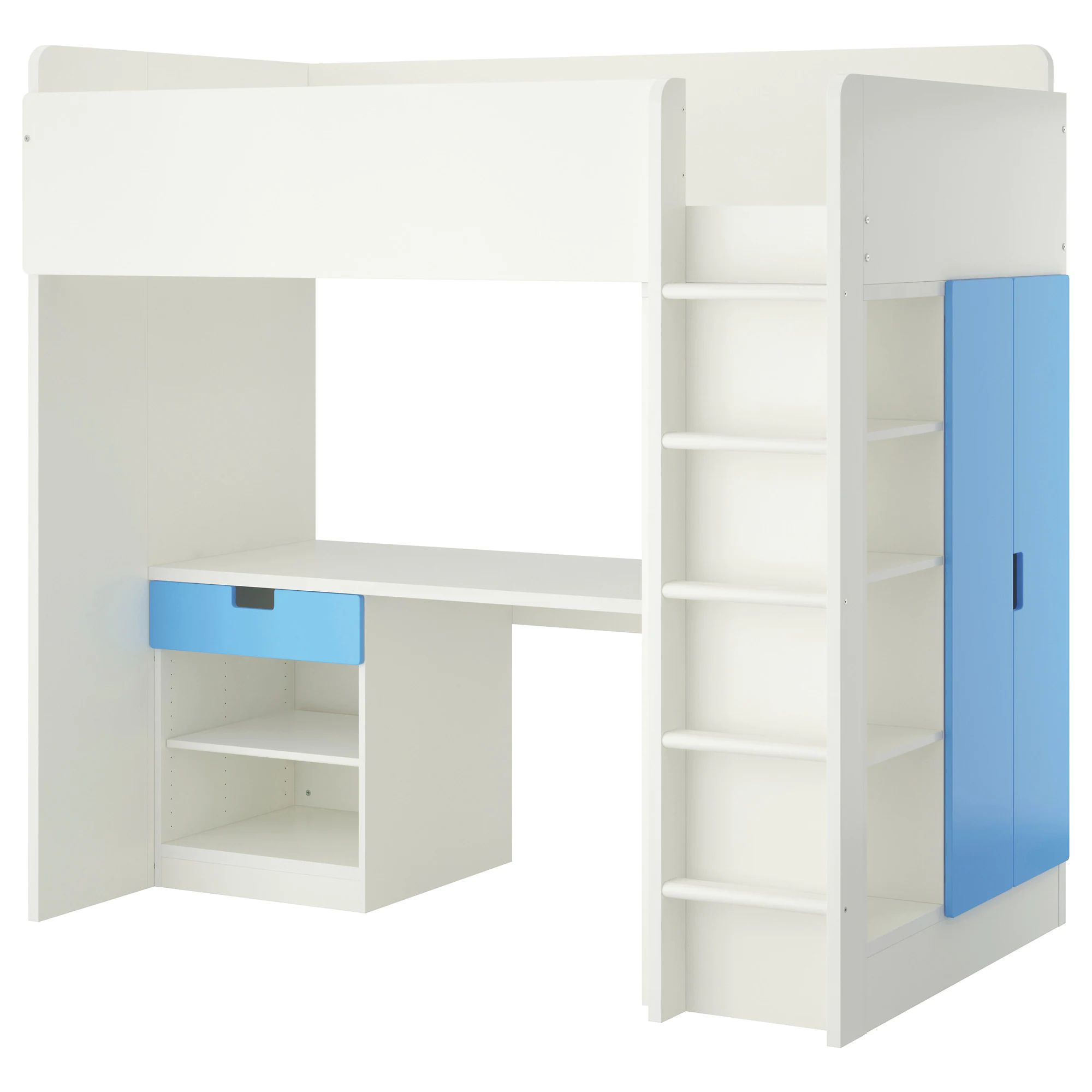 Stuva loft bed with 1 drawer 2 doors white blue height 76