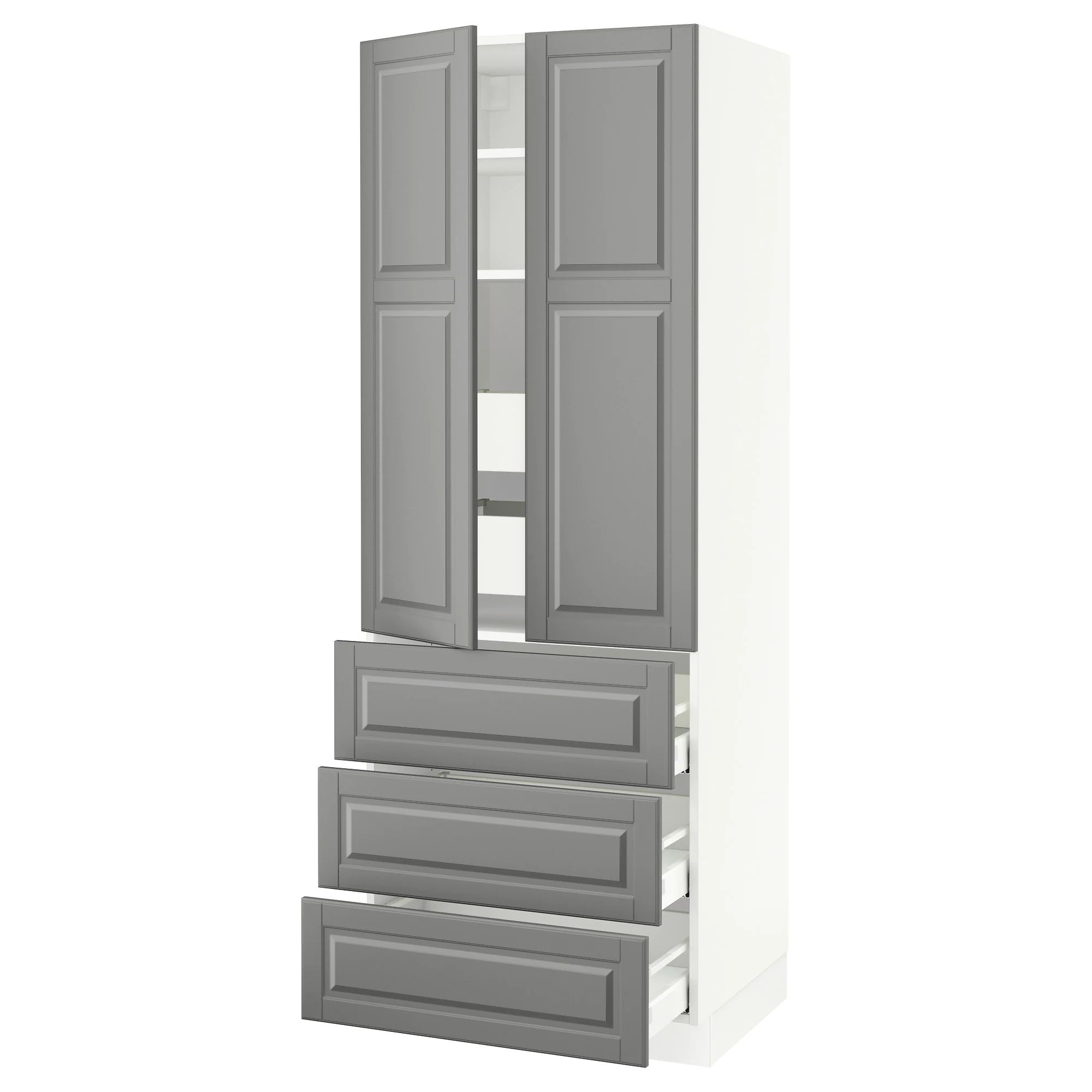 Sektion high cabinet w 2 doors 5 drawers white ma bodbyn gray 30x24x80 ikea