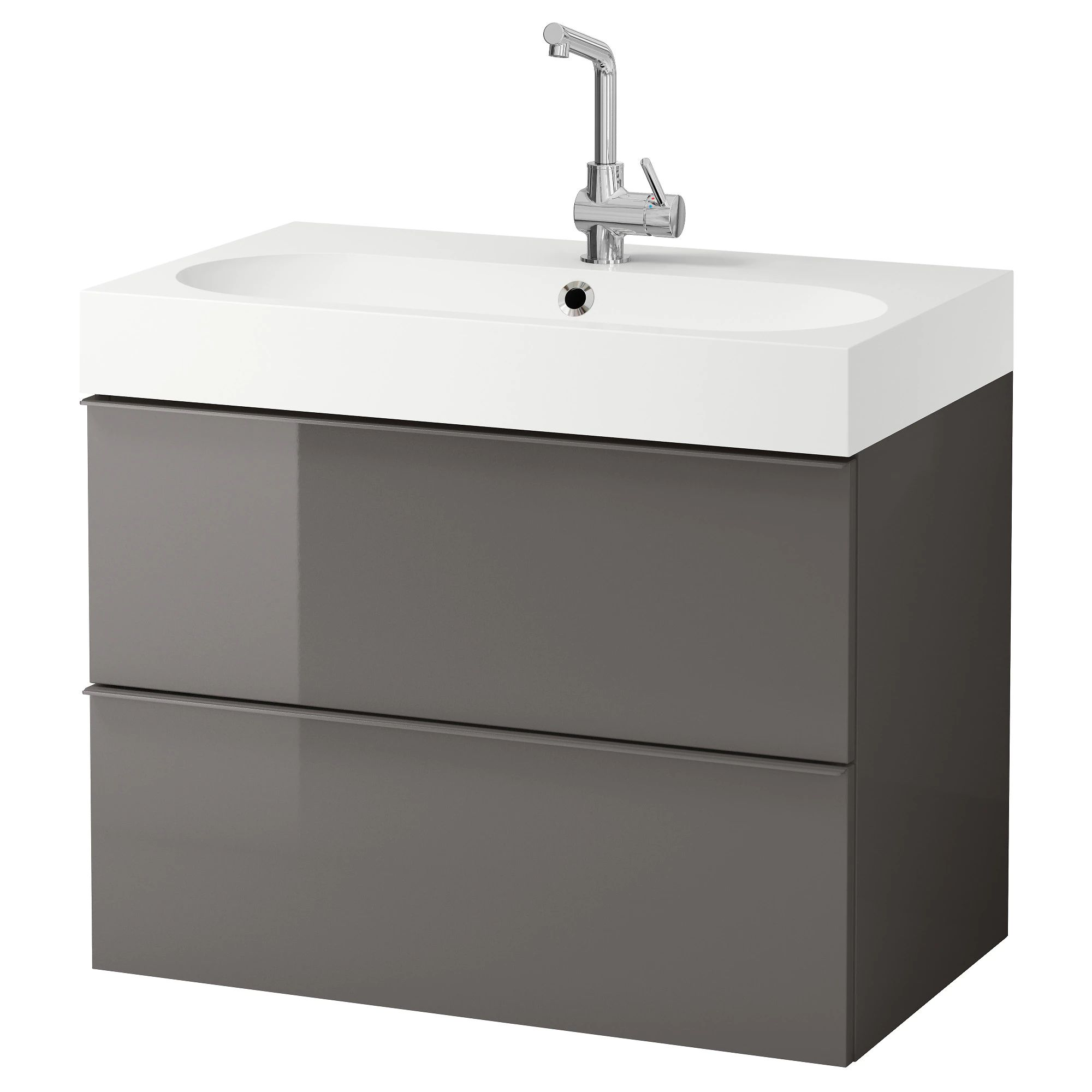 Godmorgon br viken sink cabinet with 2 drawers gray high gloss gray width 32