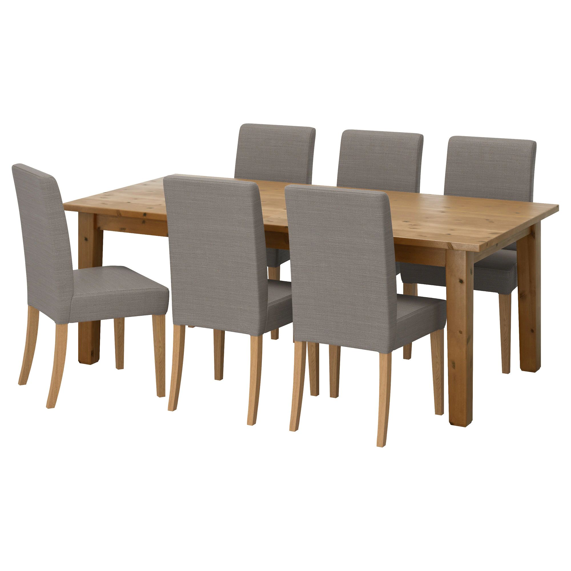 Storn s henriksdal table and 6 chairs antique stain nolhaga gray beige length