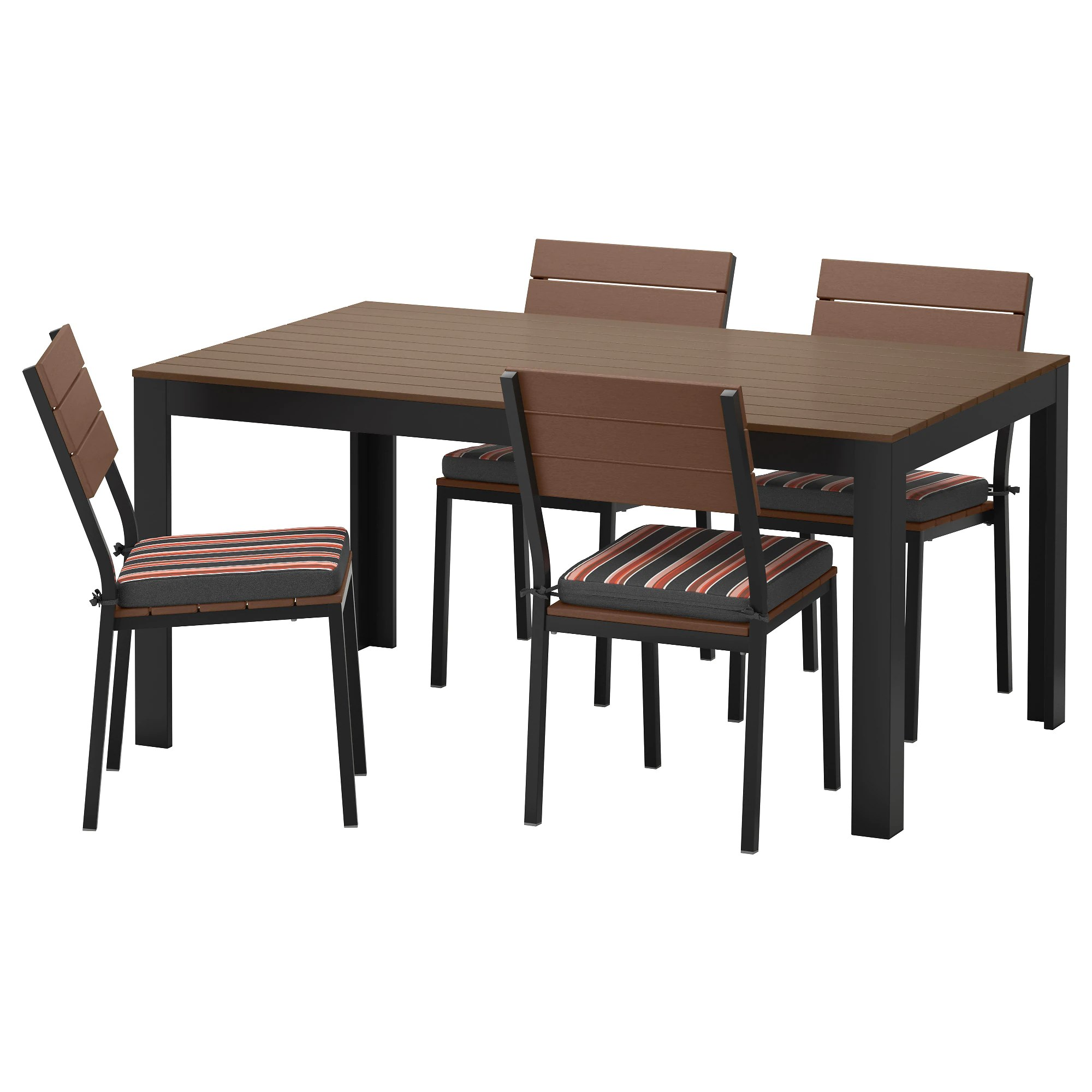 rolling kitchen chairs FALSTER table and 4 chairs outdoor black brown Eker n black