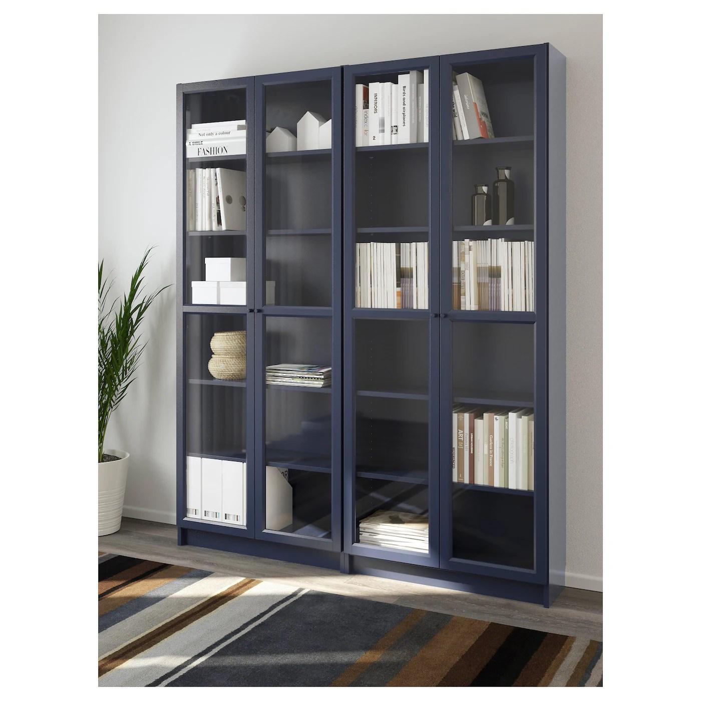 Billy Oxberg Bookcase Dark Blue 160x202x30 Cm Ikea