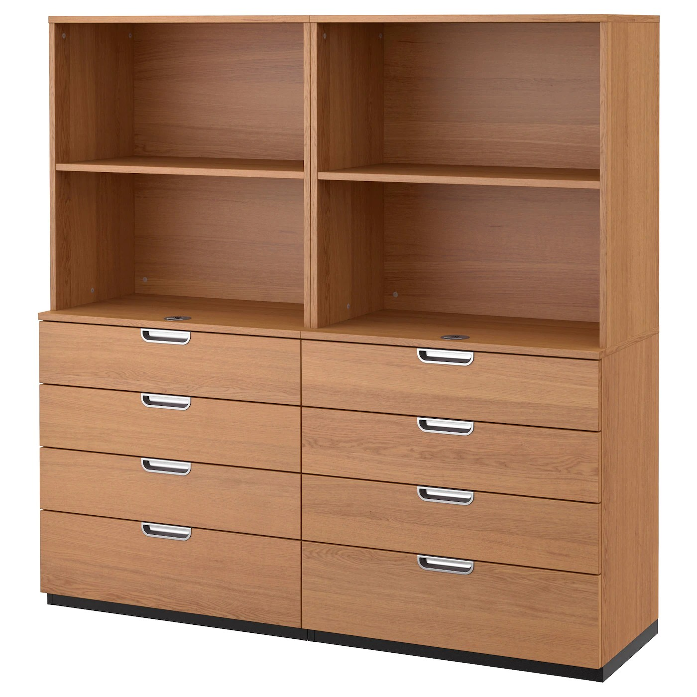 Galant Storage Combination With Drawers Oak Veneer 160x160