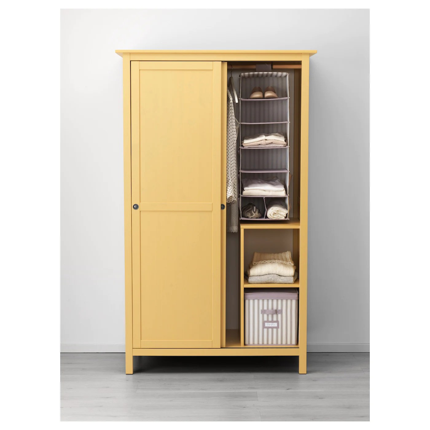 Hemnes Wardrobe With 2 Sliding Doors Yellow 120 X 197 Cm