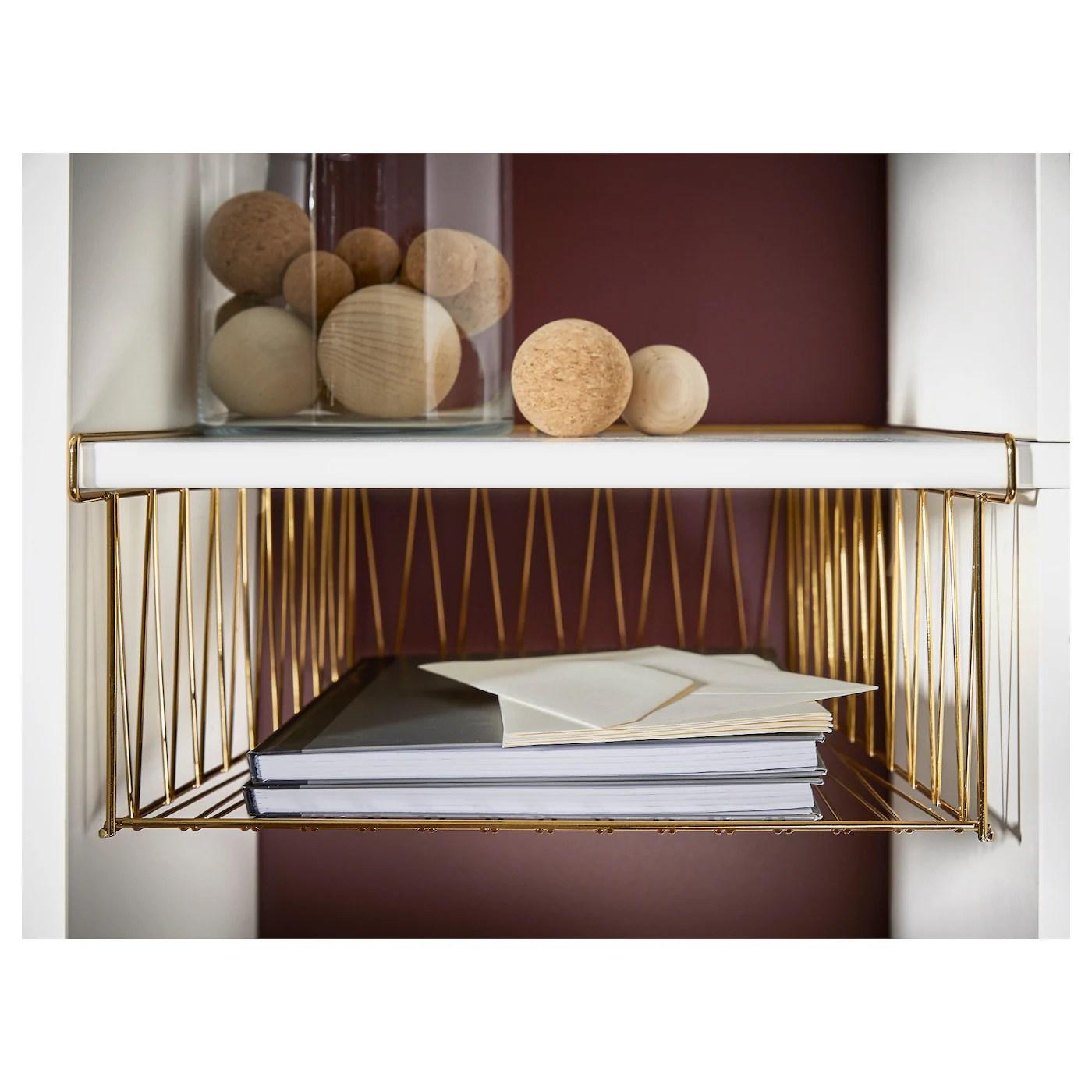 Kallax Wire Basket Brass Colour 40 X 33 Cm Ikea