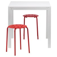 MELLTORP/MARIUS Table and 2 stools White/red 75 cm - IKEA