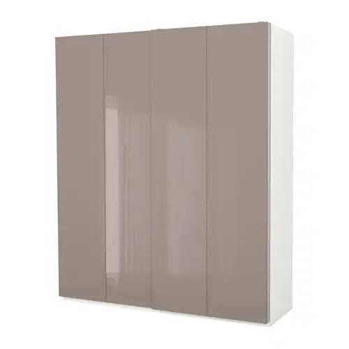 PAX Wardrobe White\/hasvik high-gloss dark beige 200x66x236 cm - IKEA - beige weis ikea