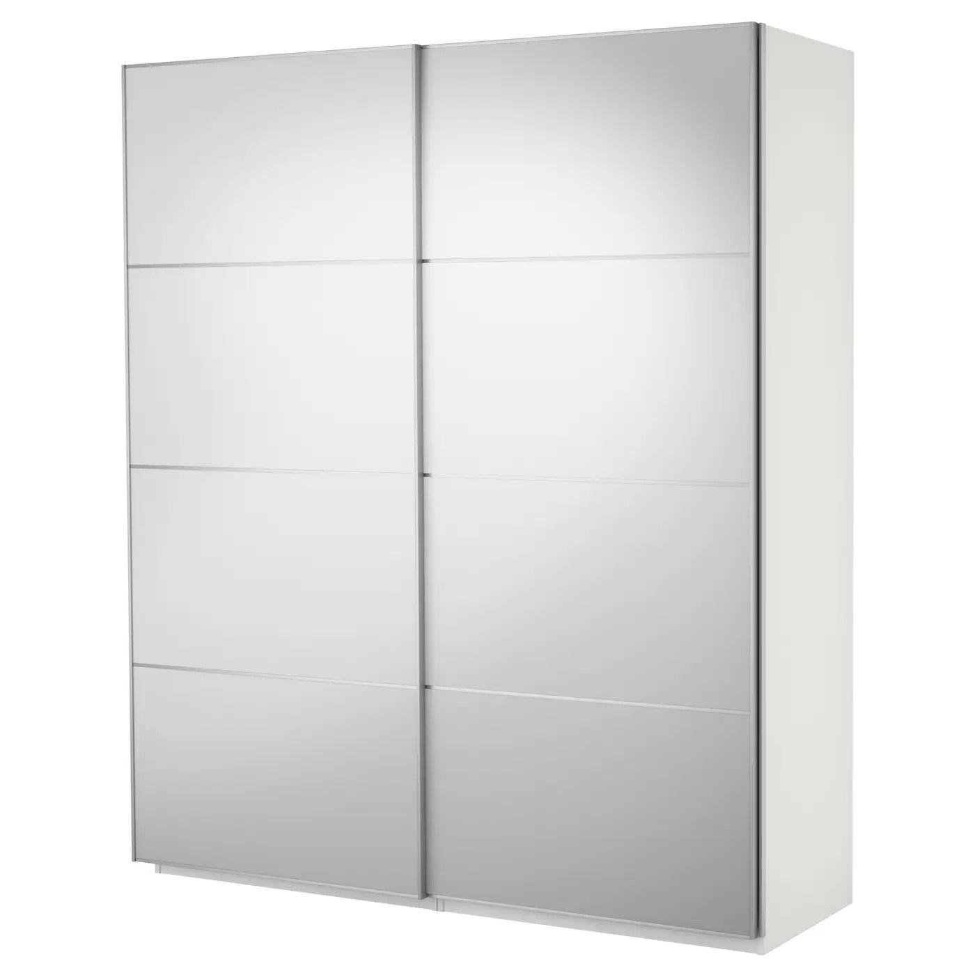 Pax Wardrobe With Sliding Doors White Auli Mirror Glass