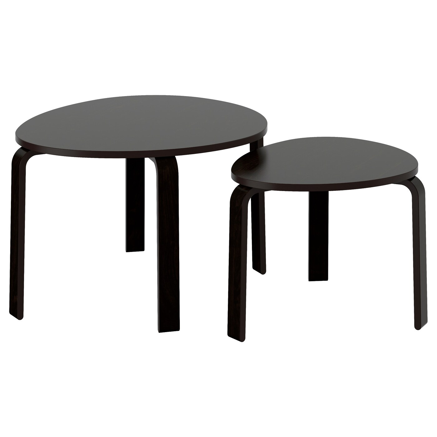Svalsta Nest Of Tables Set Of 2 Black Brown Stain Ikea