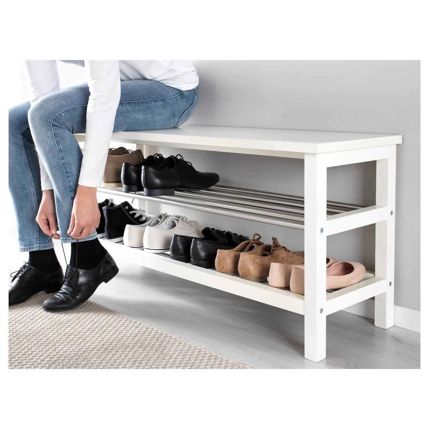 Tjusig Bench With Shoe Storage White 108 X 50 Cm Ikea