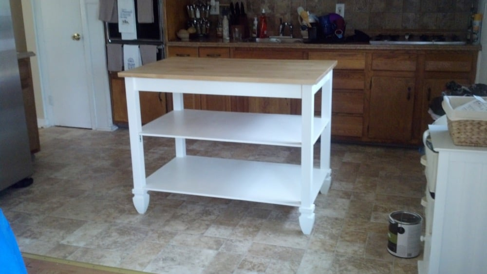 Coastal IKEA kitchen island from BJRKUDDEN table