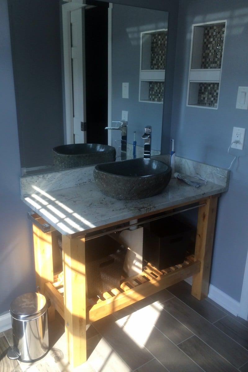 groland kitchen island bathroom vanity coffee table kitchen island table ikea IKEA Groland Kitchen Island makes a handsome Granite topped Bathroom Vanity