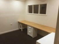 Long wooden home office / study bench desk - IKEA Hackers