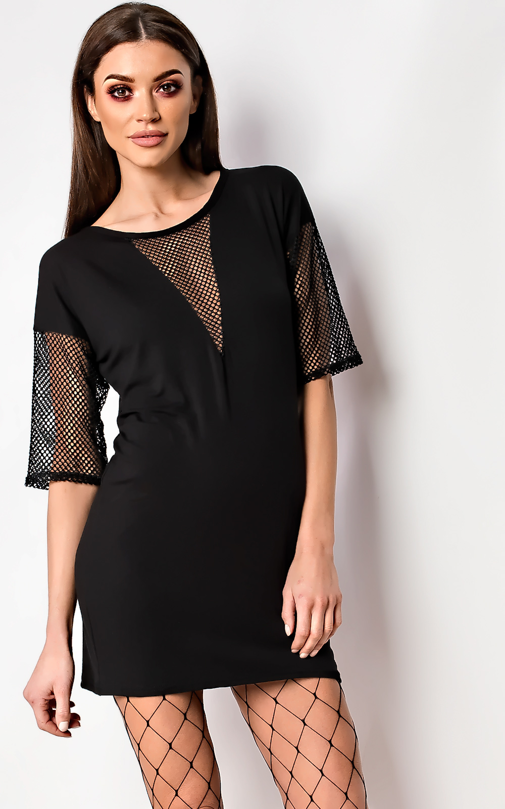 Ikrush balay net detail t shirt dress