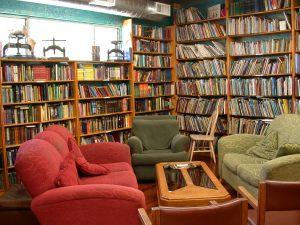 The children's book corner at the Iliad Bookshop