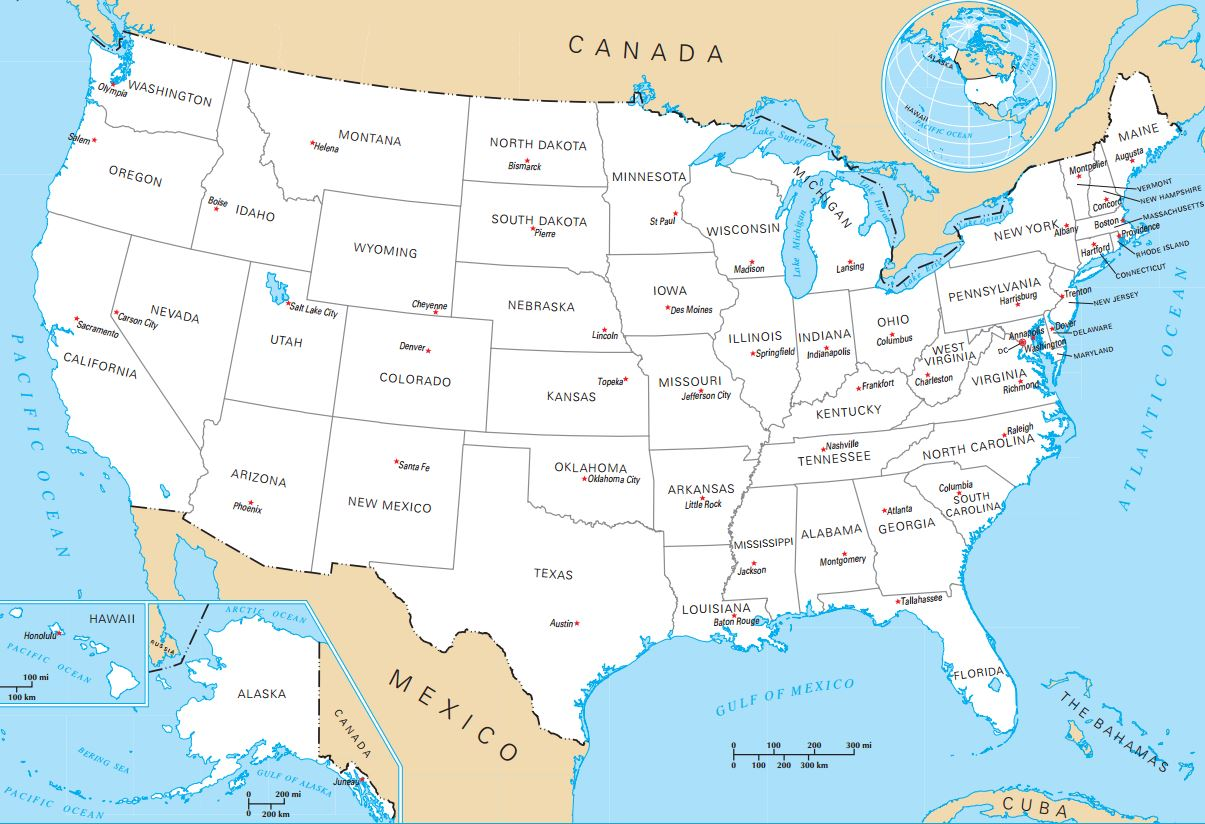 United States Map with Capitals and Abbreviations