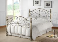 Victorian Style Antique Brass Finished Metal Bed Frame ...