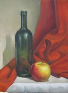 178-omena-pullo-ja-punainen-kangas