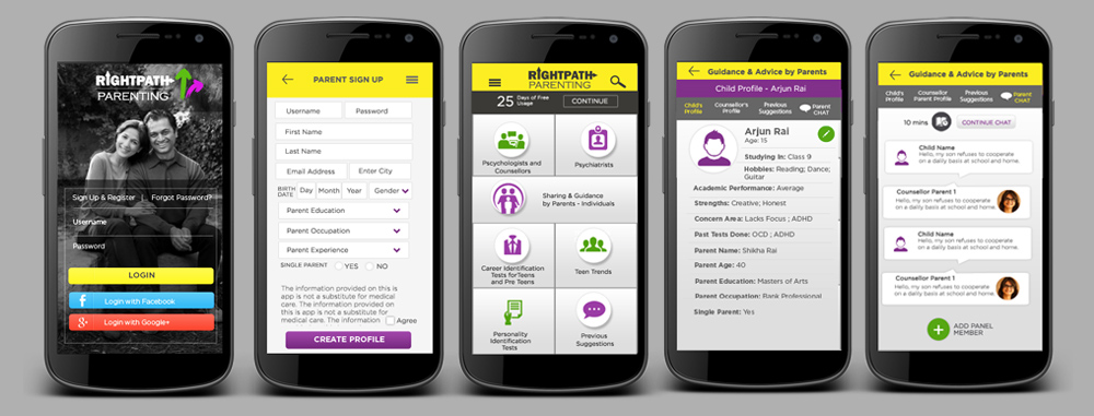 RightPath Parenting App - Mobile App User Interface / UI Design by