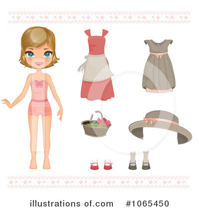 Paper Doll Clipart #1065450 - Illustration by Melisende Vector