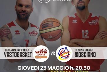Vasto Basket, domani al PalaBcc la Gara2