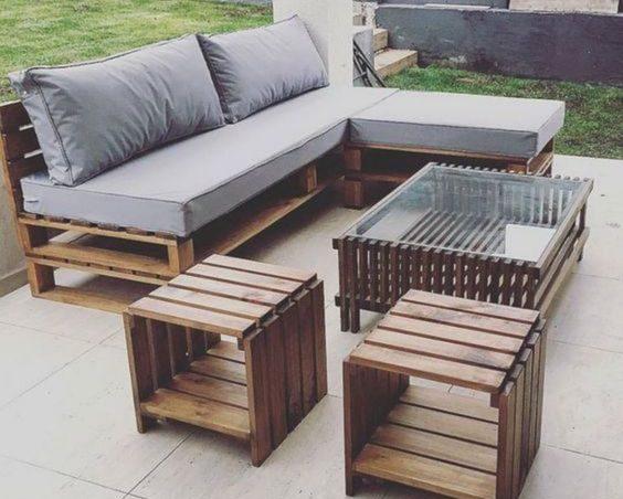 Conjuntos de muebles con palets para terraza de diseño minimalista - Terrazas Con Palets