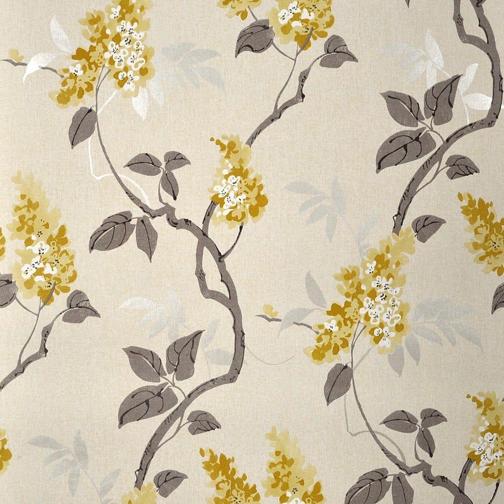 Black And White Feature Wall Wallpaper Muriva Jasmine Floral Wallpaper Yellow Cream Wallpaper