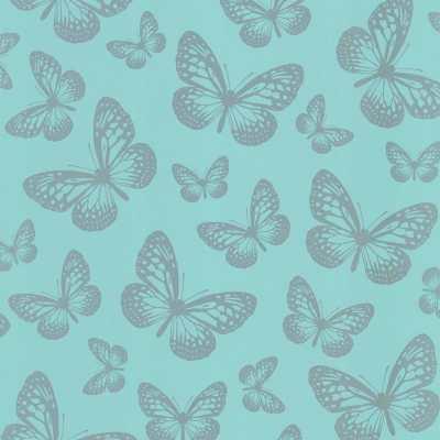 I Love Wallpaper Metallic Butterfly Designer Feature Wallpaper Teal / Silver | eBay