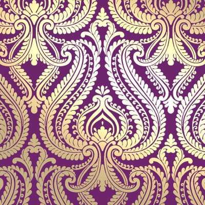 I Love Wallpaper Shimmer Damask Metallic Designer Feature Wallpaper Plum / Gold   eBay